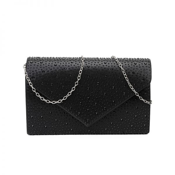 BLACK MULTI RHINESTONE EVENING PARTY CLUTCH WITH CHAIN