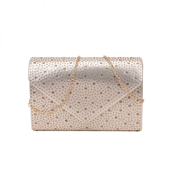 GOLD MULTI RHINESTONE EVENING PARTY CLUTCH WITH CHAIN