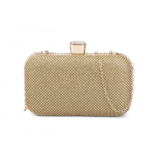 GOLD TRENDY MULTI RHINESTONE STRUCTURED PARTY CLUTCH WITH CHAIN