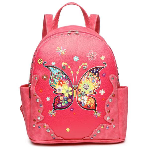 Fuchsia Butterfly Stitches And Studs Backpack - MULB3 5381