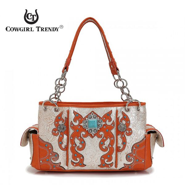 Coral Western 'Square Turquoise' Concho Handbag - QQY 8469