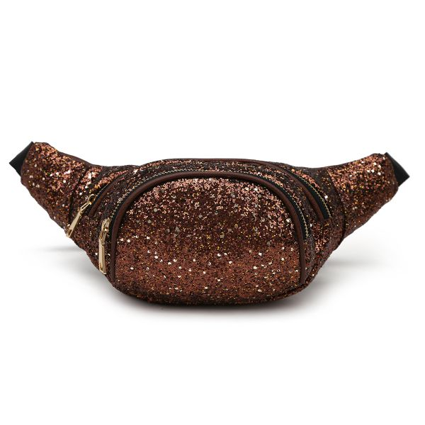Brown Glittered Fanny Pack Round Pocket - STAR 200
