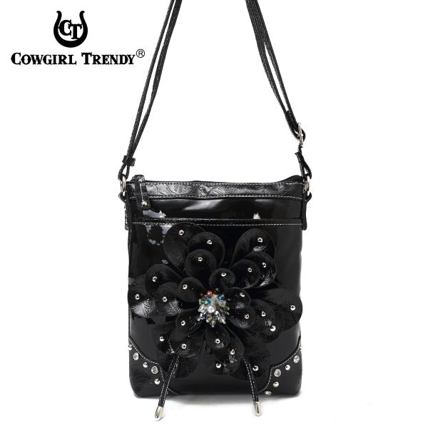 Black Flower Center Accented And Studs Messenger Bag - TUF 4699F