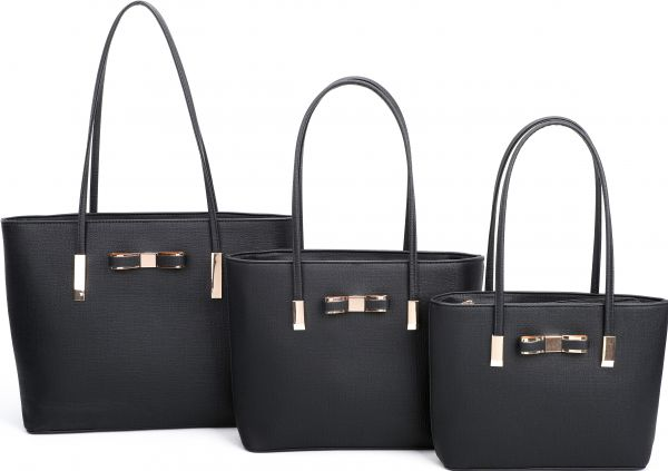 BLACK 3IN1 FASHION BOW ACCENT TOTE BAG SET
