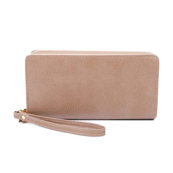 APRICOT FASHION SOLID CHIC LONG WALLET WITH HAND STRAP