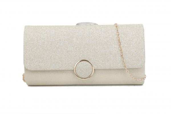 APRICOT STYLISH FASHION SILKY PARTY CLUTCH WITH CHAIN