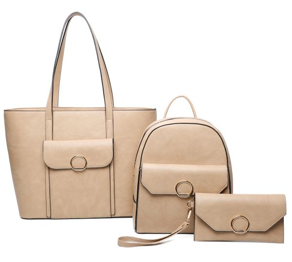 APRICOT 3IN1 FASHION SHOPPER, BACKPACK AND CLUTCH SET