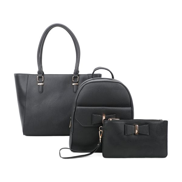 BLACK 3IN1 STYLISH SATCHEL BACKPACK AND CLUTCH SET