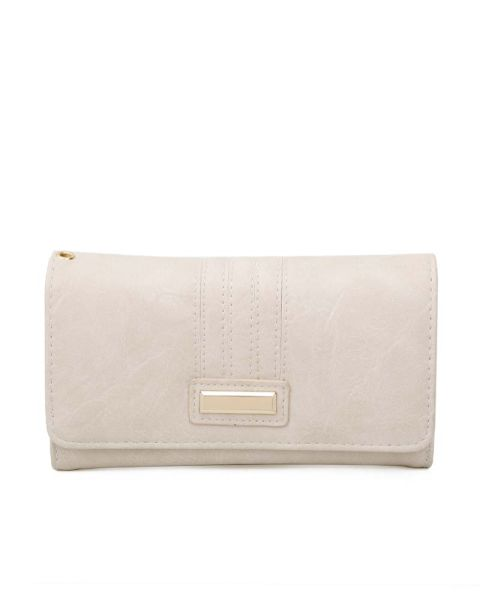 BEIGE CHIC STYLISH LONG WALLET WITH HAND STRAP