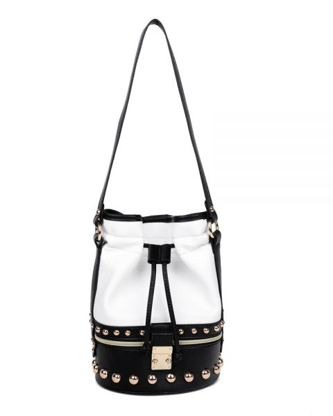 BLACK 2IN1 MODERN STUDDED TWO TONE TOTE WITH WAIST BAG
