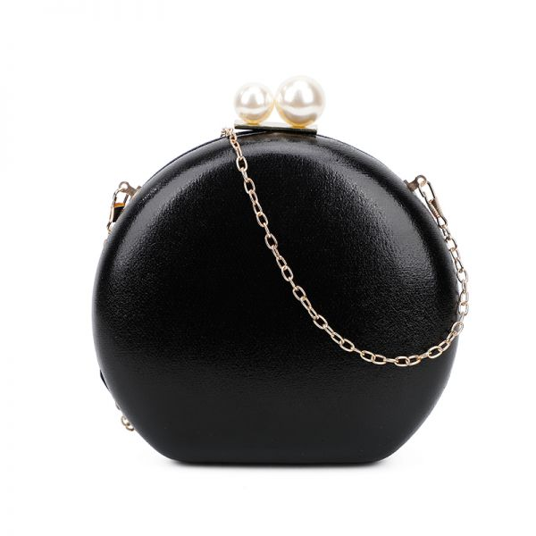 BLACK CUTE STRUCTURED DOUBLE PEARL CIRCLE CLUTCH WITH CHAIN