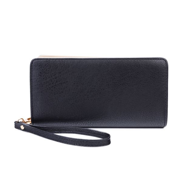 BLACK FASHION SOLID CHIC LONG WALLET WITH HAND STRAP