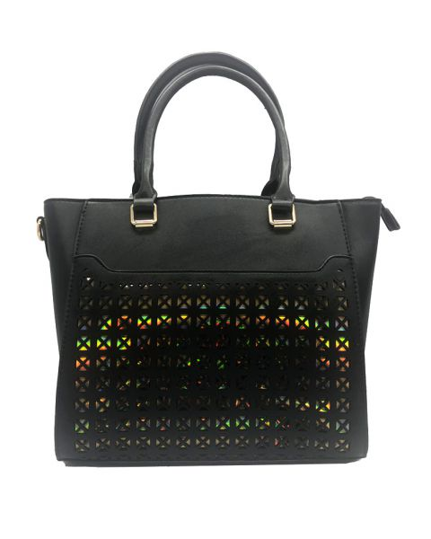 BLACK FASHION HOLOGRAM FRONT TOTE WITH LONG STRAP