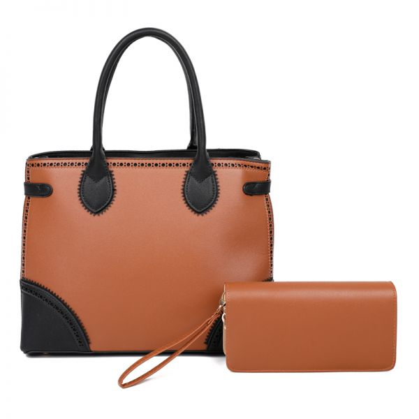 BLACK 2IN1 TWO TONE DESIGNER SATCHEL WITH MATCHING WALLET