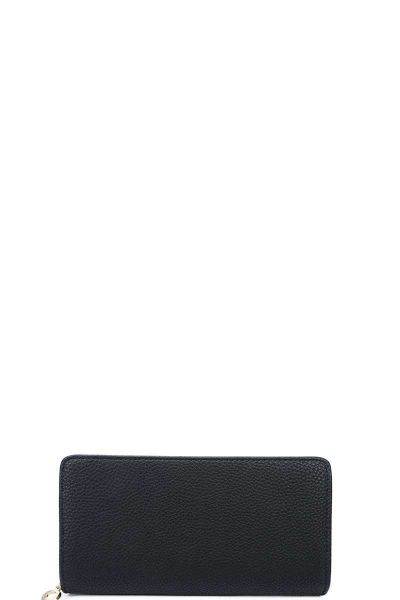 BLACK FASHION SOLID COLOR DOUBLE SIDE LONG WALLET WITH HAND STR