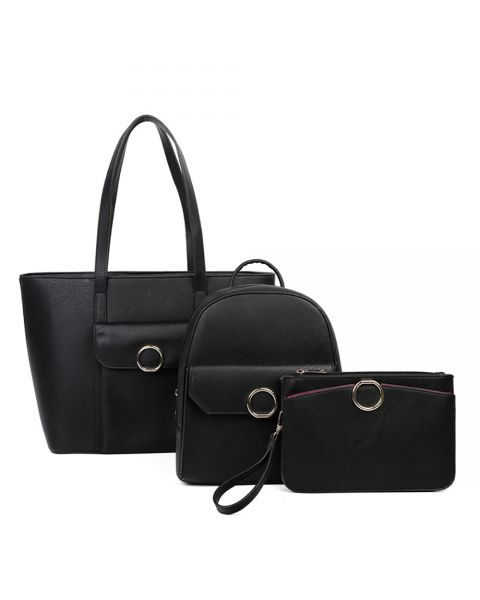 BLACK 3IN1 FASHION SHOPPER, BACKPACK AND CLUTCH SET