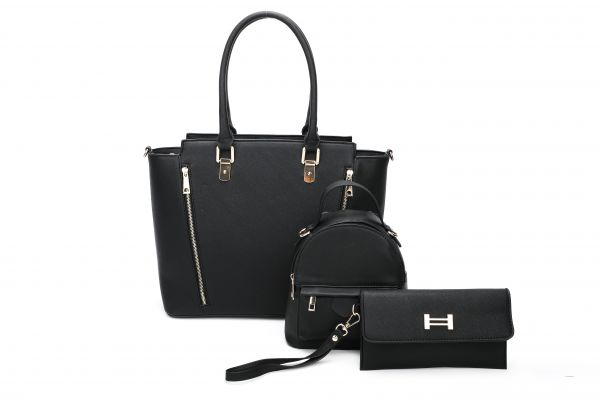 BLACK 3IN1 STYLISH MODERN SATCHEL BACKPACK AND CLUTCH SET