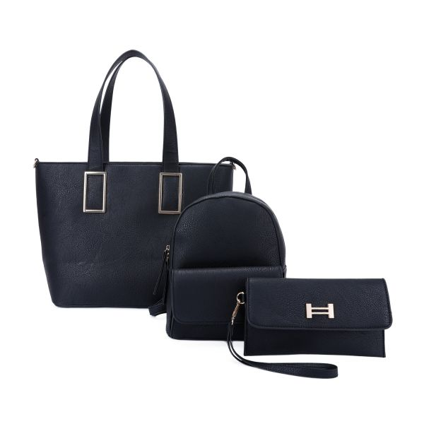 BLACK 3IN1 STYLISH FASHION SHOPPER BACKPACK AND CLUTCH SET
