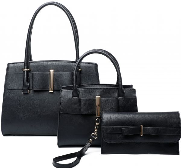 BLACK 3IN1 RIBBON ACCENT SATCHEL BAGS AND CLUTCH SET