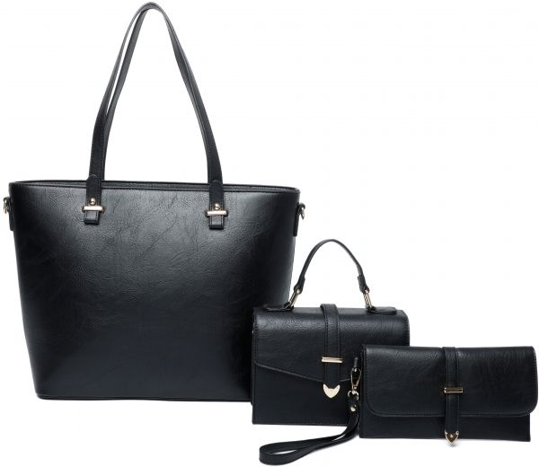 BLACK 3IN1 CHIC TOTE CROSSBODY AND CLUTCH SET