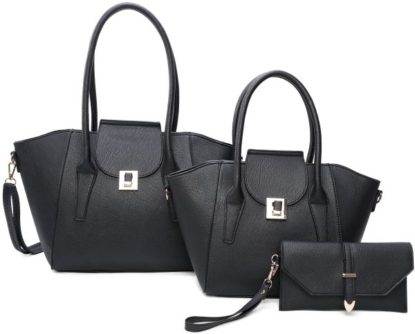 BLACK 3IN1 FASHION TOTE BAG AND CLUTCH SET