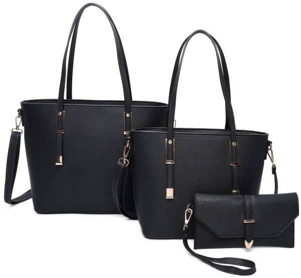 BLACK 3IN1 FASHION SMOOTH LEATHER DESIGN TOTE BAG WITH MATCHING
