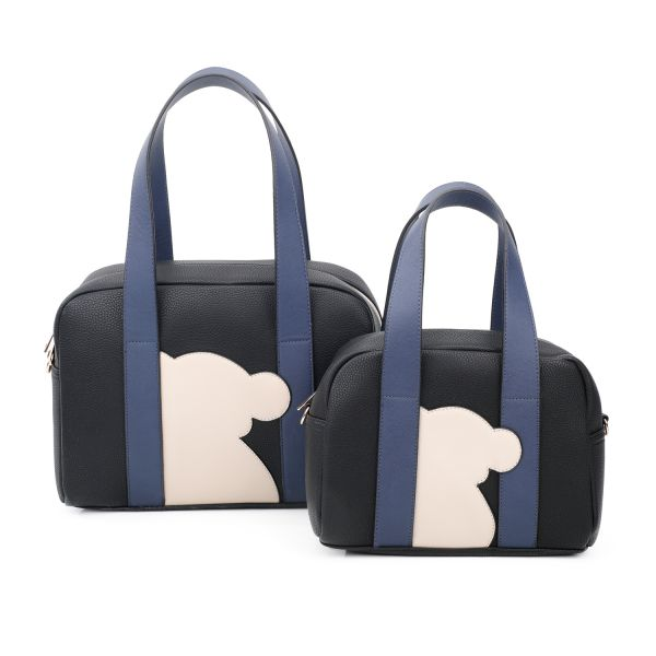 BLACK 2IN1 CUTE BEAR PATCH BOSTON BAG SET WITH LONG STRAP