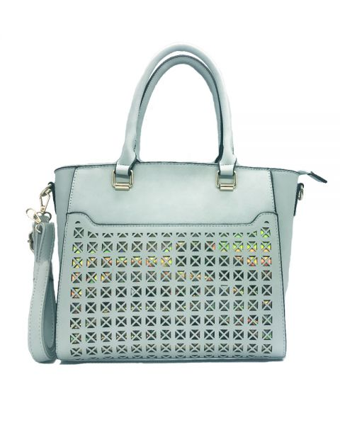 BLUE FASHION HOLOGRAM FRONT TOTE WITH LONG STRAP