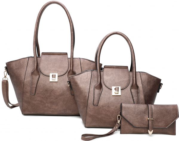 BRONZE 3IN1 FASHION TOTE BAG AND CLUTCH SET