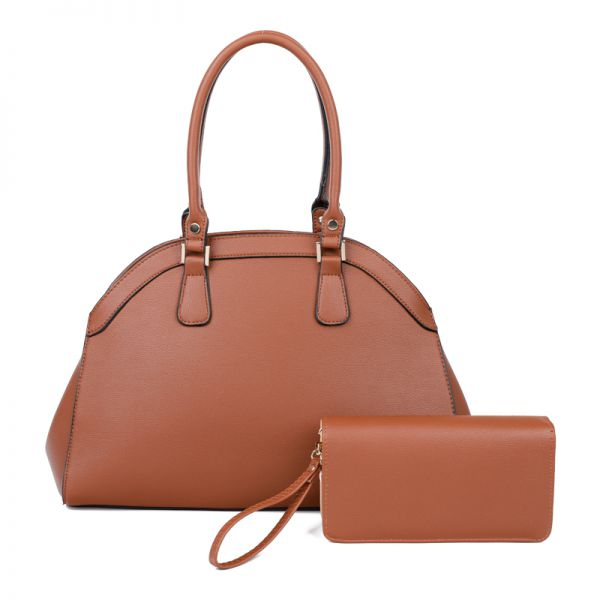 BROWN 2IN1 STYLISH FASHION DOMED SATCHEL WITH MATCHING WALLET