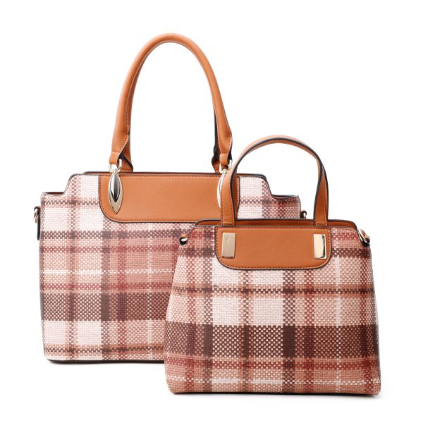BROWN 2IN1 CHIC PLAID CHECK SATCHEL SET WITH LONG STRAP