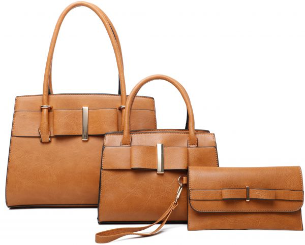 BROWN 3IN1 RIBBON ACCENT SATCHEL BAGS AND CLUTCH SET