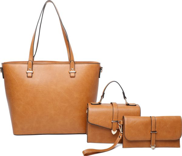 BROWN 3IN1 CHIC TOTE CROSSBODY AND CLUTCH SET