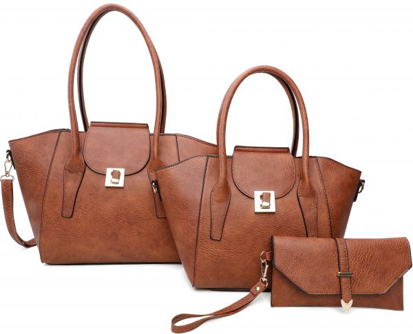 BROWN 3IN1 FASHION TOTE BAG AND CLUTCH SET