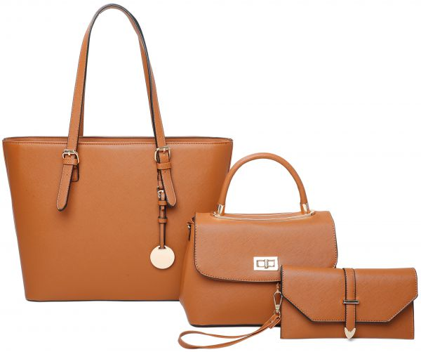 BROWN 3IN1 MODERN CHIC TOTE CROSSBODY AND CLUTCH SET