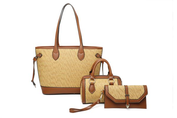 BROWN 3IN1 TRENDY WOVEN STYLISH TOTE BOSTON BAG AND CLUTCH SET
