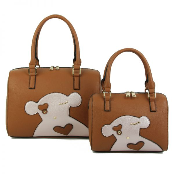 BROWN 2IN1 CUTE FASHION BEAR PATCH BOSTON BAG SET WITH LONG STRA