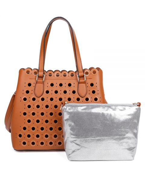 BROWN 2IN1 CHIC RING HOLLOW STUDDED SATCHEL WITH LONG STRAP