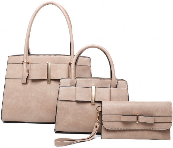 CAMEL 3IN1 RIBBON ACCENT SATCHEL BAGS AND CLUTCH SET