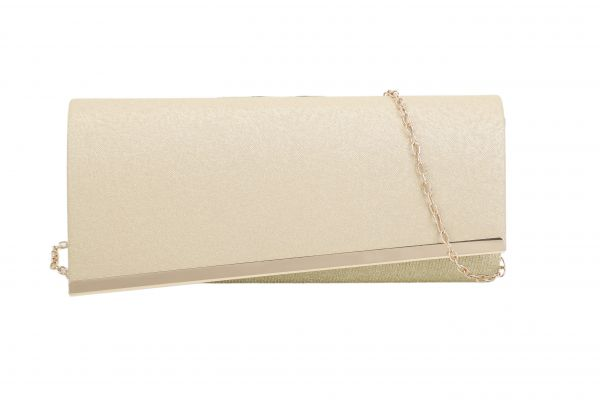 CHAMPANGE STYLISH ASSYMTRICAL FLAP PARTY CLUTCH WITH CHAIN