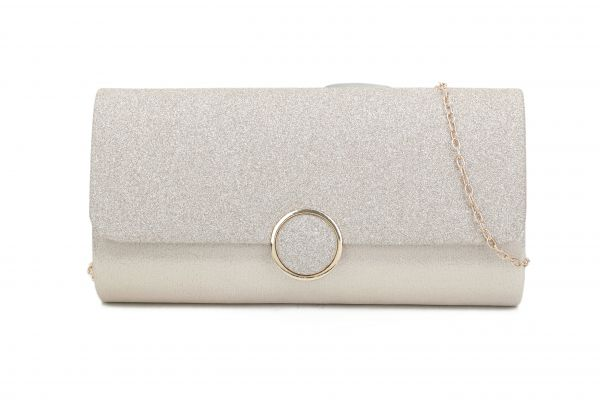 GOLD STYLISH FASHION SILKY PARTY CLUTCH WITH CHAIN