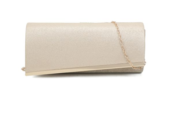 GOLD STYLISH ASSYMTRICAL FLAP PARTY CLUTCH WITH CHAIN