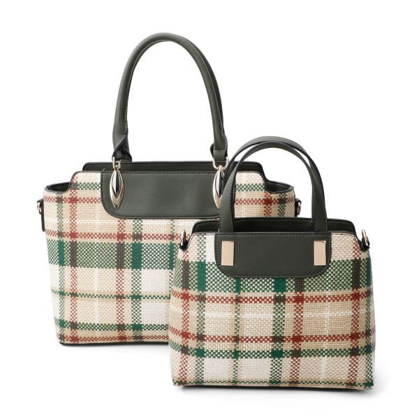GREEN 2IN1 CHIC PLAID CHECK SATCHEL SET WITH LONG STRAP
